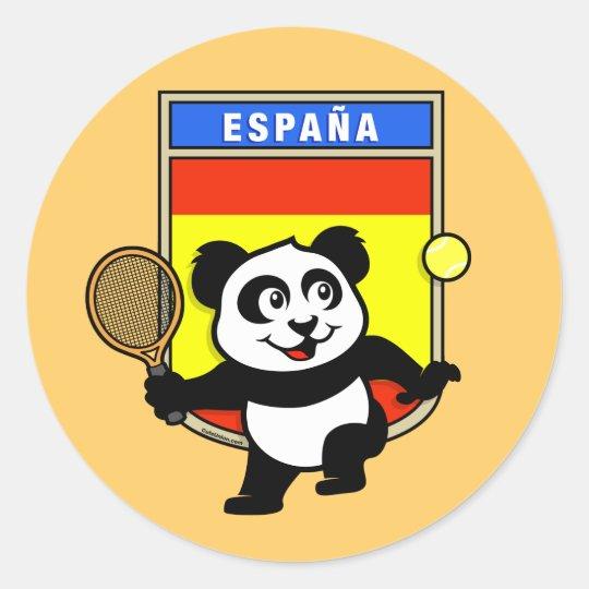Spain Tennis Panda Classic Round Sticker