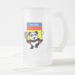 Frosted Glass Mug with Spanish Tennis Panda design