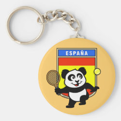 Basic Button Keychain with Spanish Tennis Panda design
