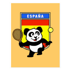Postcard with Spanish Tennis Panda design