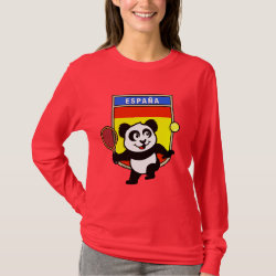 Women's Basic Long Sleeve T-Shirt with Spanish Tennis Panda design