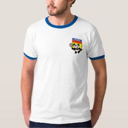 Men's Basic Ringer T-Shirt with Spanish Tennis Panda design