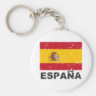 Spain Vintage Flag Basic Round Button Keychain