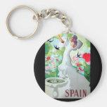 Spain Vintage Image Basic Round Button Keychain