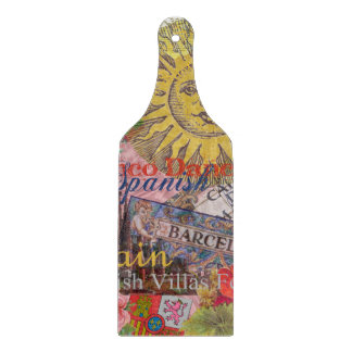 Spain Vintage Trendy Spanish Travel Collage Cutting Board