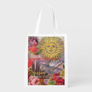 Spain Vintage Trendy Spanish Travel Collage Grocery Bag