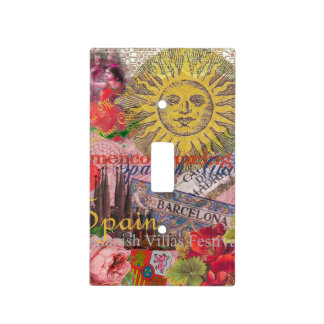 Spain Vintage Trendy Spanish Travel Collage Light Switch Cover