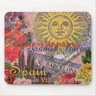 Spain Vintage Trendy Spanish Travel Collage Mouse Pad