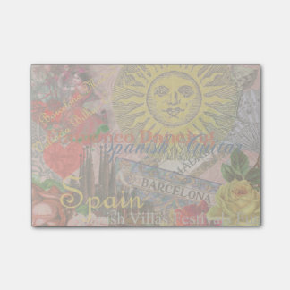 Spain Vintage Trendy Spanish Travel Collage Post-it® Notes