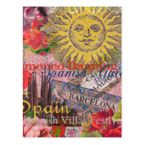 Spain Vintage Trendy Spanish Travel Collage Postcard