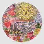 Spain Vintage Trendy Spanish Travel Collage Round Stickers