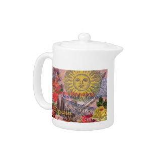 Spain Vintage Trendy Spanish Travel Collage Teapot