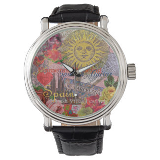 Spain Vintage Trendy Spanish Travel Collage Wristwatch