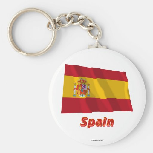 Spain Waving Flag with Name Keychains