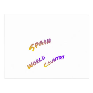 Spain world country, colorful text art postcard