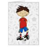 Spain World Cup Soccer Boy Greeting Card