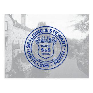 Spalding & Stewart Distillery Vintage Logo Postcard
