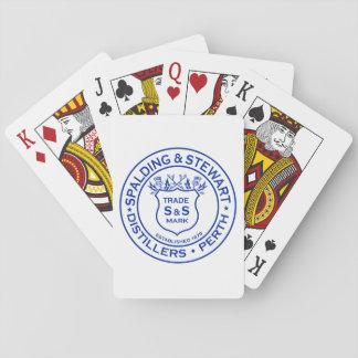 Spalding y logotipo del vintage de la destilería barajas de cartas