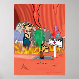 Spammer en el dibujo animado del infierno - divert póster