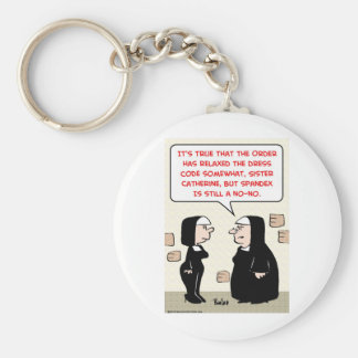 spandex nuns no-no dress code basic round button keychain