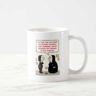 spandex nuns no-no dress code coffee mug