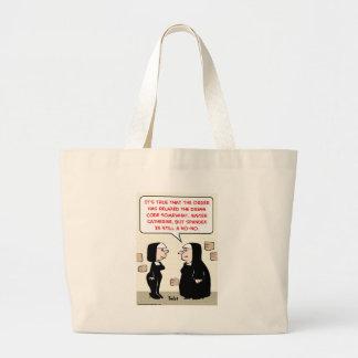 spandex nuns no-no dress code jumbo tote bag