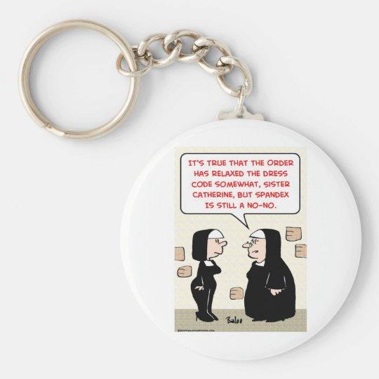 spandex nuns no-no dress code keychain