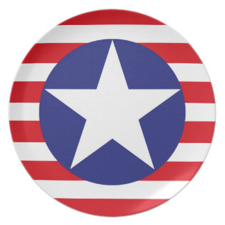 Spangled Banner - American Flag Red White Stripes. Party Plate