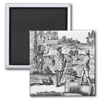 Spaniard Bartering with Natives of Patagonia 2 Inch Square Magnet