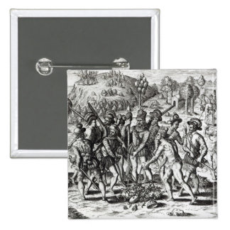 Spaniards receiving gifts from Indians 2 Inch Square Button