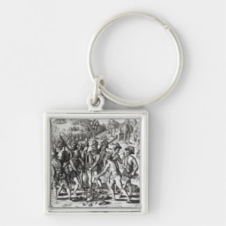 Spaniards receiving gifts from Indians Keychain