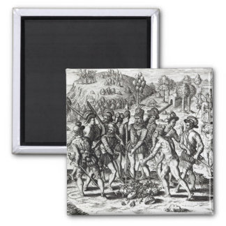 Spaniards receiving gifts from Indians Magnet