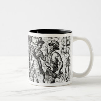Spaniards receiving gifts from Indians Two-Tone Coffee Mug