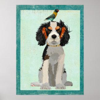 SPANIEL & BIRD Art Poster
