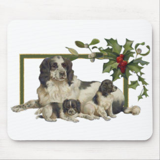 Spaniel Family Christmas Mouse Pads