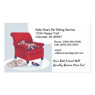 Spaniel in Red Chair Retro Style Business Card