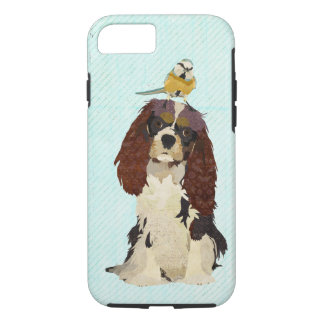 Spaniel & Little Bird Blue iPhone 7 case
