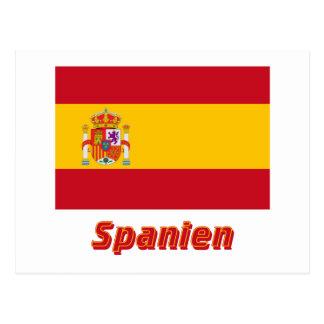 Spanien Dienstflagge mit Namen Postcard