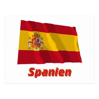 Spanien Fliegende Dienstflagge mit Namen Postcard