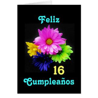 Spanish: 16 anos! Margaritas Neon  - B-day Card