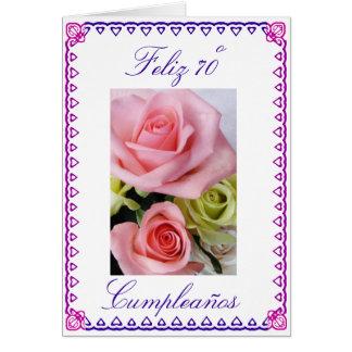 Spanish: 70 anos / birthday roses card