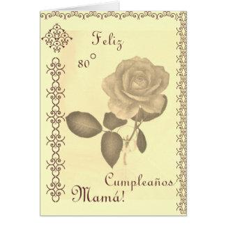 Spanish: 80 Cumples- Mamá / Mom's 80th birthday Card