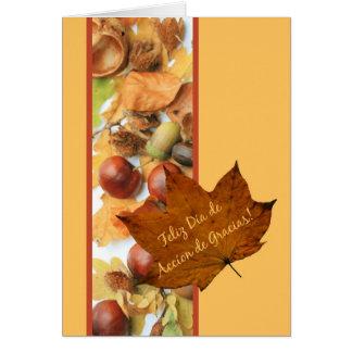 spanish accion de gracias maple leaf thanksgiving greeting card