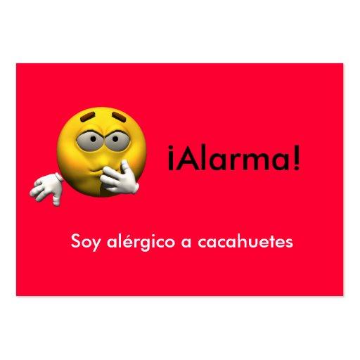 Spanish Allergy Info card Peanut Business Cards