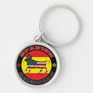 Spanish American Bull Silver-Colored Round Keychain