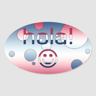 Spanish American Gifts  Hello / Hola + Smiley Face Oval Sticker