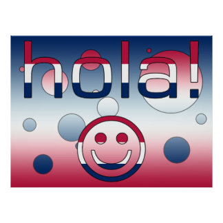 Spanish American Gifts  Hello / Hola + Smiley Face Poster