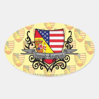 Spanish-American Shield Flag Oval Sticker