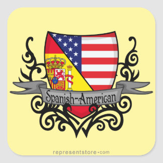 Spanish-American Shield Flag Square Sticker