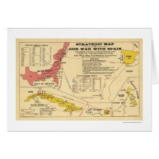 Spanish American War Map 1898 Card